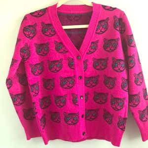 Sweaters - HARAJUKU Pink Cat Cashmere Blend Cardigan